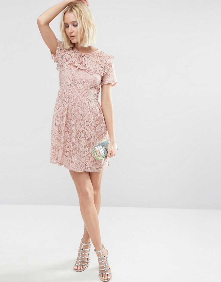 Image 4 of ASOS Lace Ruffle Yoke Skater Dress