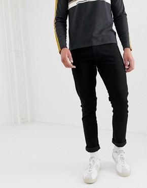 Wrangler larston slim tapered fit jeans in black valley rinse wash