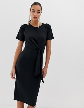 Missguided ribbed midi dress with tie front in black