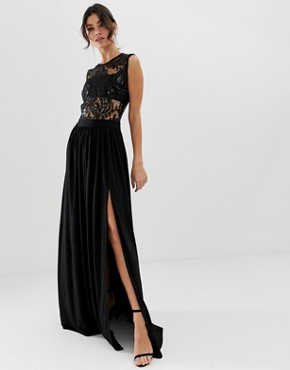 City Goddess strappy detail maxi dress with thigh split