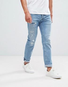 Jack & Jones Intelligence Jeans In Slim Fit Vintage Blue Distressed Denim - Denim 177