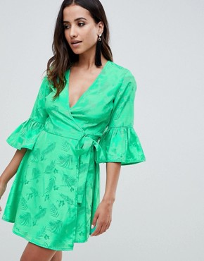 ASOS DESIGN jacquard wrap mini dress with fluted sleeve - Green
