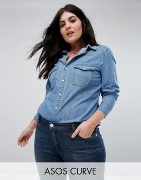 ASOS DESIGN Curve denim fitted western shirt in midwash blue - Blue