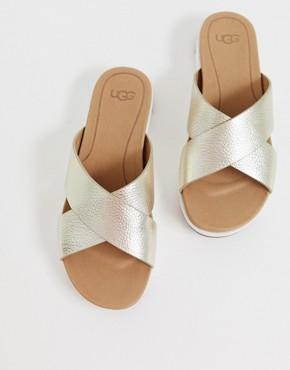 UGG Kari cross strap slides in gold