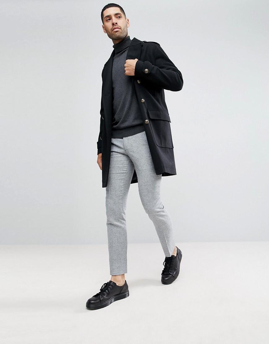 Nero uomo Cappotto stile militare extra lungo in lana Nero Stanley Adams