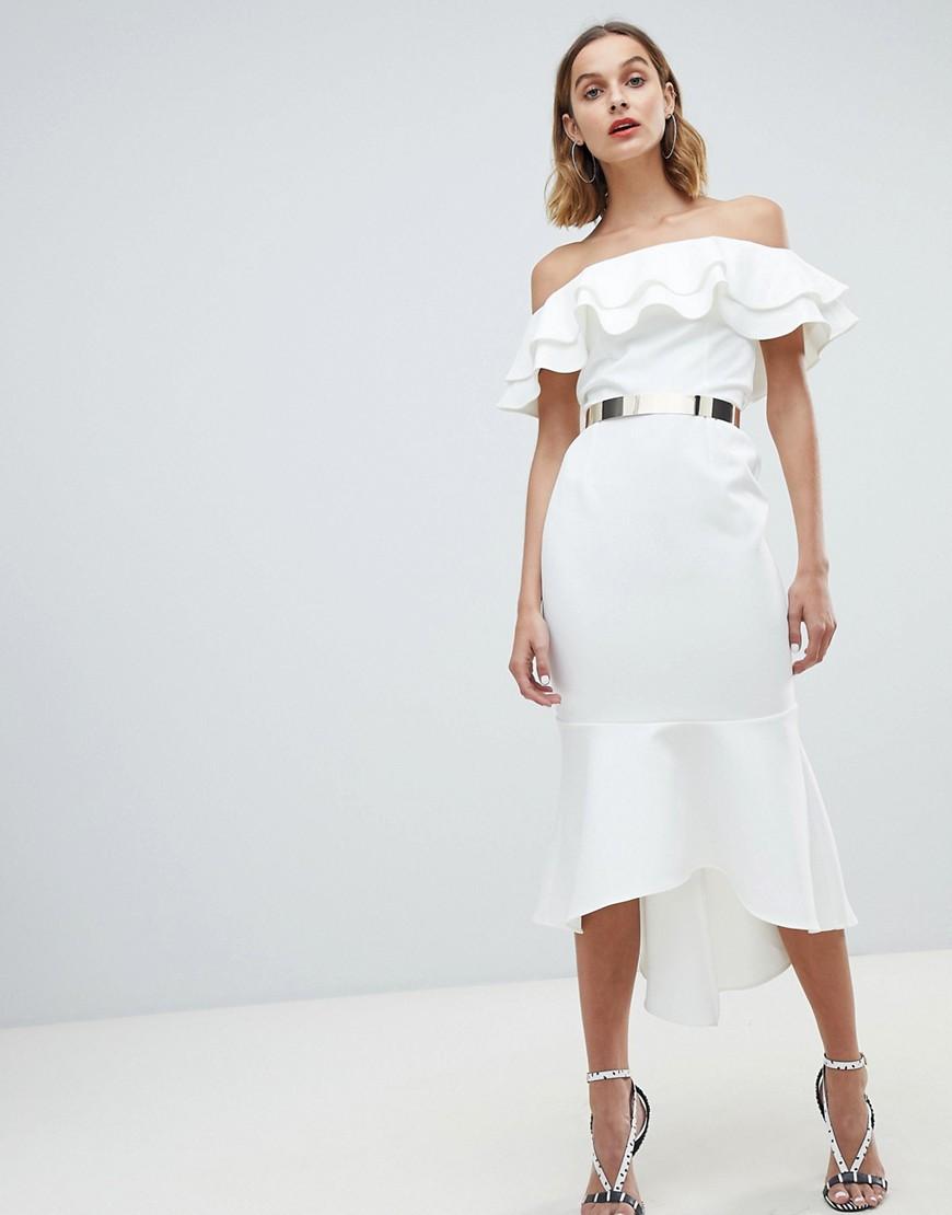 Eleganti trendy Crema donna Vestito midi con spalle scoperte e cintura avorio Crema River Island