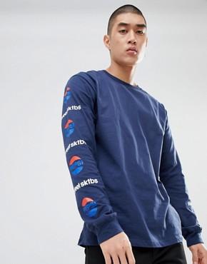 SWEET SKTBS x Pepsi Long Sleeve T-Shirt With Sleeve Print In Navy