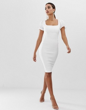Vesper bodycon dress with blouson sleeve in white