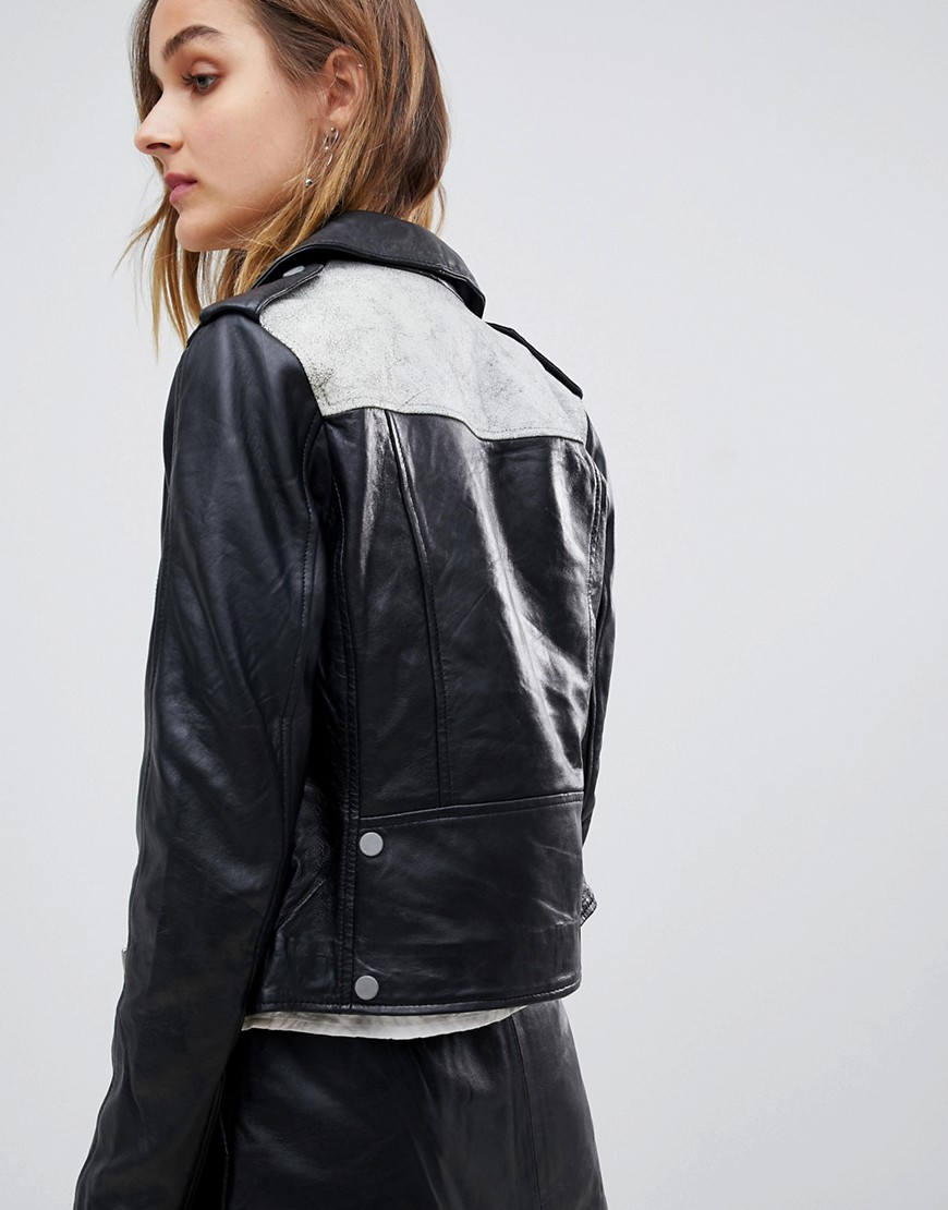 MUUBAA Crackle Leather Biker Jacket With Contrast Back - Black