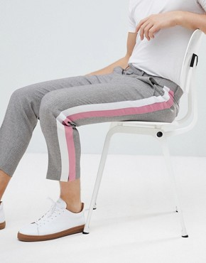 ASOS Tapered Smart Trousers In Grey Texture With Pastel Side Stripes - Grey