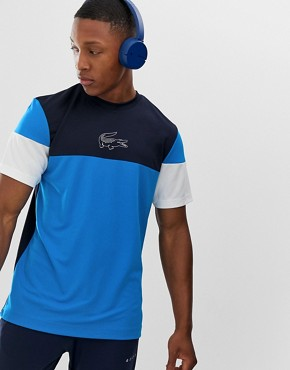 Lacoste Sport colour block t-shirt in blue