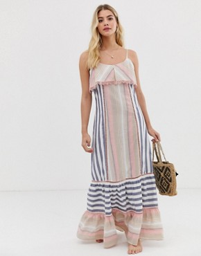 America & Beyond striped maxi beach dress