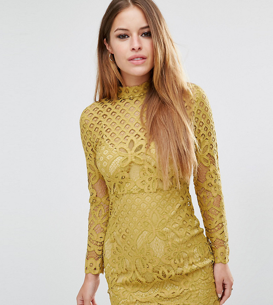 Missguided Petite High Neck Lace Mini Dress