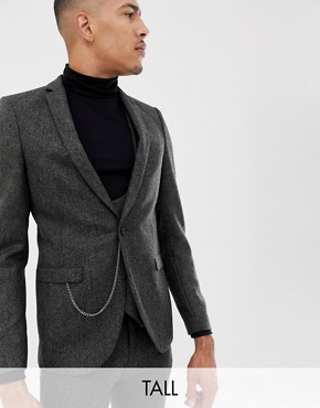 Twisted Tailor super skinny suit jacket in charcoal donegal tweed - Charcoal