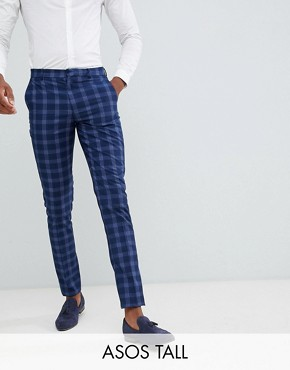 ASOS DESIGN Tall wedding skinny suit trousers in tonal blue check - Blue