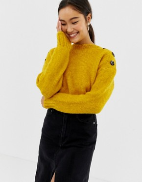 New Look button neck jumper in bright yellow - Bright yellow