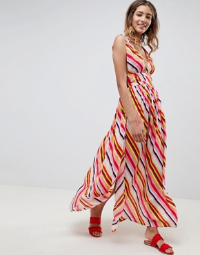 ASOS DESIGN stripe print grecian plunge maxi woven beach dress - Stripe print