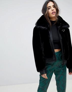 Blank NYC faux fur boxy jacket