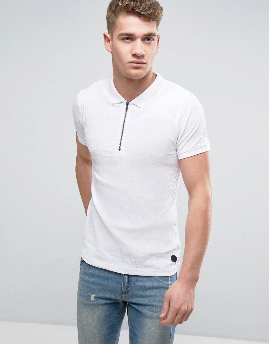 1950s Style Mens Shirts Brave Soul Muscle Fit Zip Polo - White $15.00 AT vintagedancer.com