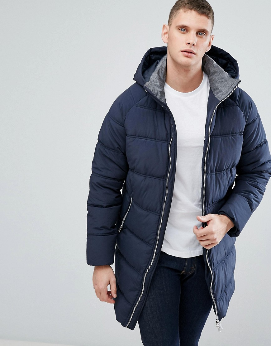 Product photo of Selected homme quilted parka with removable hood dark saphire