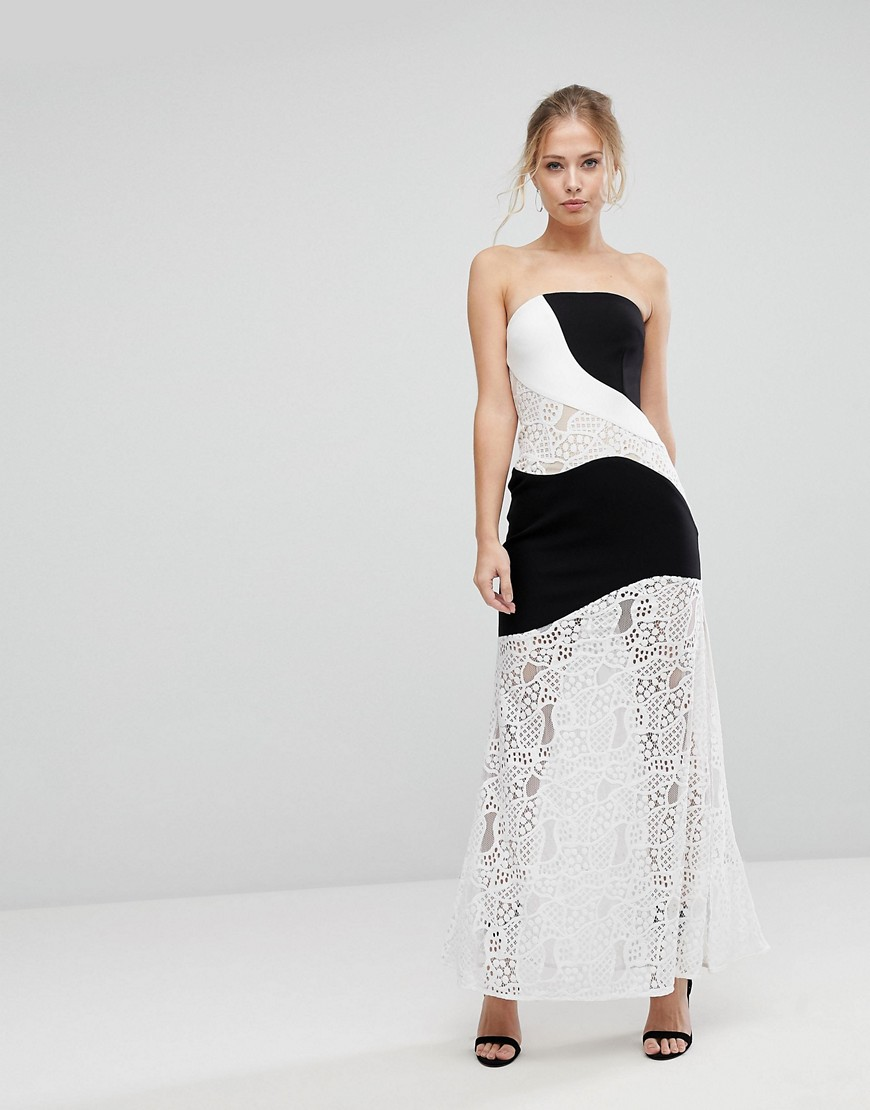 Product photo of Aijek maxi dress with monochrome and lace detail