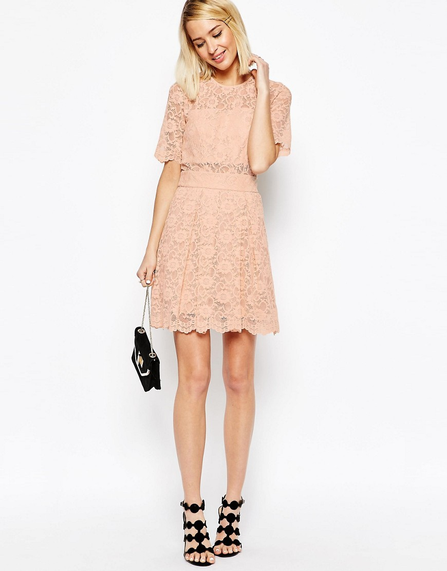 Image 4 of ASOS Lace Mini Prom Dress