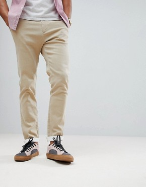 ASOS Slim Heavyweight Chinos In Stone - Stone