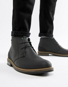 Barbour Readhead leather lace up mid boots in black - Bk11