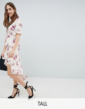 Fashion Union Tall Wrap Skirt With Asymetric Ruffle Hem In Vintage Floral Co-Ord - Vintage bloom