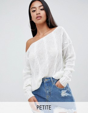 Missguided Petite Off Shoulder Cable Knit Jumper - Cream