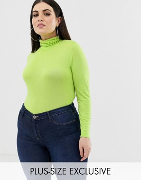 PrettyLittleThing Plus exclusive plus roll neck long sleeve body in neon green