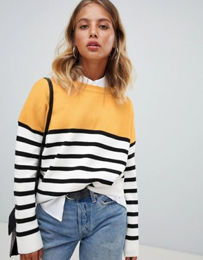 New Look jumper in colourblock stripe - Yellow pat
