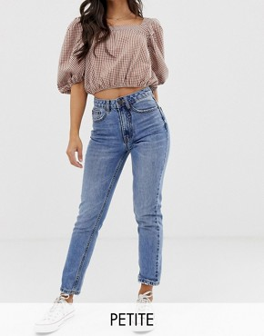 Vero Moda Petite high waist acid wash mom jean