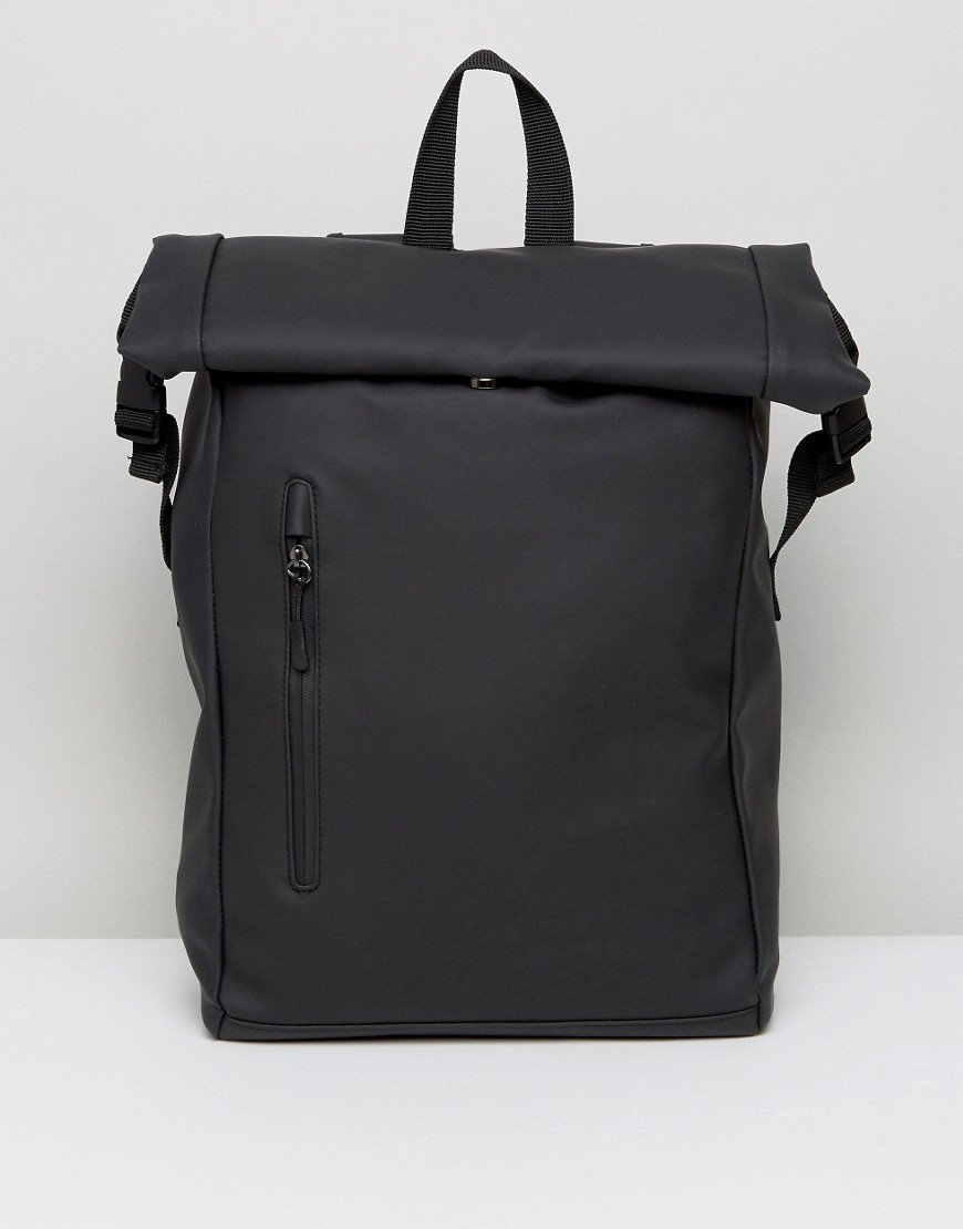 ASOS Roll Top Backpack In Rubberised Finish With Internal Laptop Pouch - Black