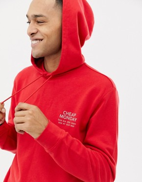Cheap Monday Hoodie In Red With Logo Print