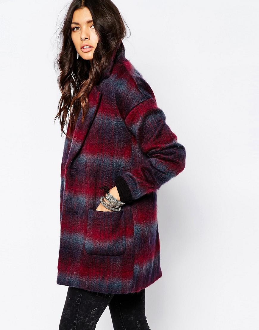 Шерстяное пальто в клетку Noisy May New Katelyn - Burgundy