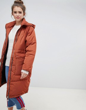 Only quilted longline padded jacket - Arabian spice