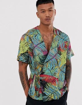 ASOS DESIGN wrap around shirt in palm print