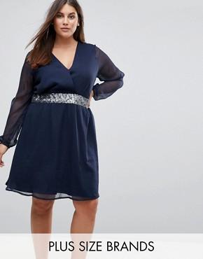 Junarose Embellished Waist Dress With Sheer Sleeve - Blue