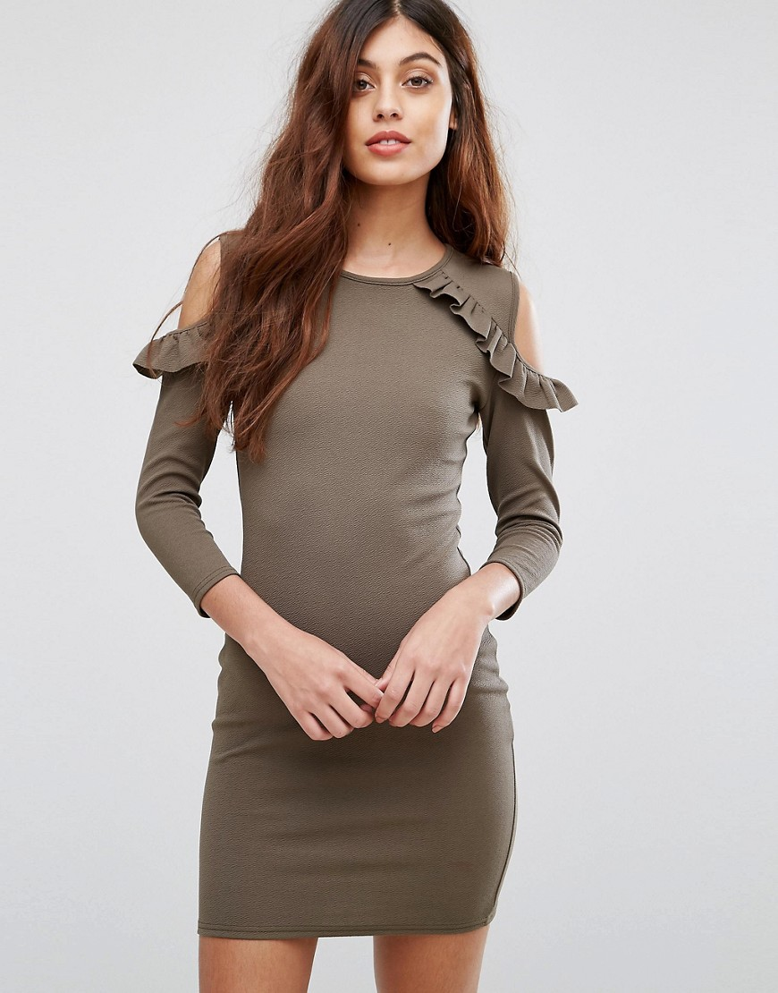 Be Jealous Cold Shoulder Dress With Frill Detail