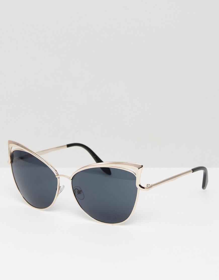 Occhiali Oro donna 7X - Occhiali da sole a occhi di gatto con montatura strutturata - Oro