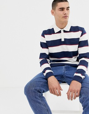 Bellfield rugby shirt with stripe - White