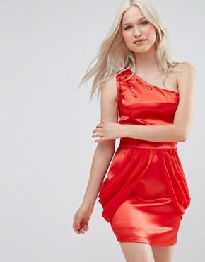 Jasmine One Shoulder Dress With Drape Side - Red