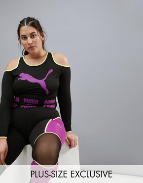 Puma Plus Exclusive To Asos Long Sleeve Cut Out Crop In Black - Black/hyacinth viole