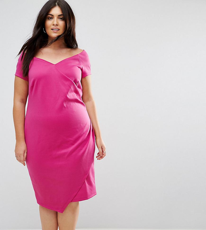 ASOS CURVE Wrap Over Bardot Pencil Dress In Scuba