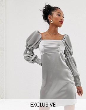 Reclaimed Vintage inspired mini dress with puff and ruched sleeve detail - Silver