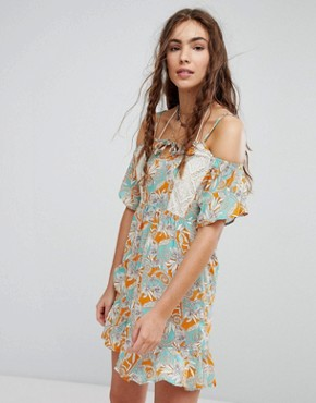 Maaji Flower Print Cold Shoulder Dress