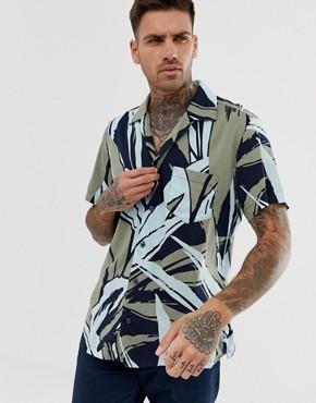 BOSS Rhythm printed short sleeve revere collar shirt in light green