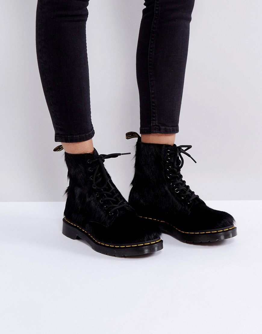 Product photo of Dr martens 1460 pony hair boots black long hair