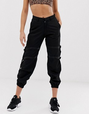 Motel high waist cargo pants with leg straps
